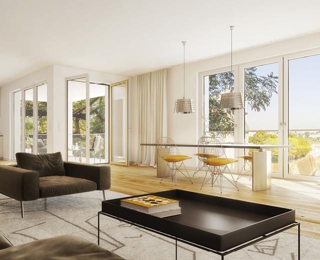 Rendering eines Wohnbeispiels zur Vermarktung der Wohnimmobilie Carlstadtufer