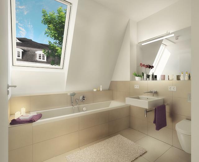 Rendering eines Badezimmers als Wohnbeispiel zur Vermarktung der Wohnimmobilie Carlstadtufer