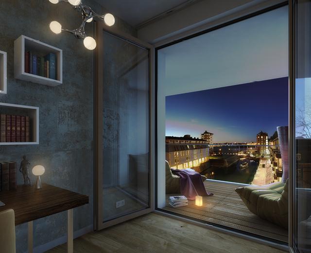 Rendering eines Wohnbeispiel bei Nacht zur Vermarktung der Wohnimmobilie Carlstadtufer