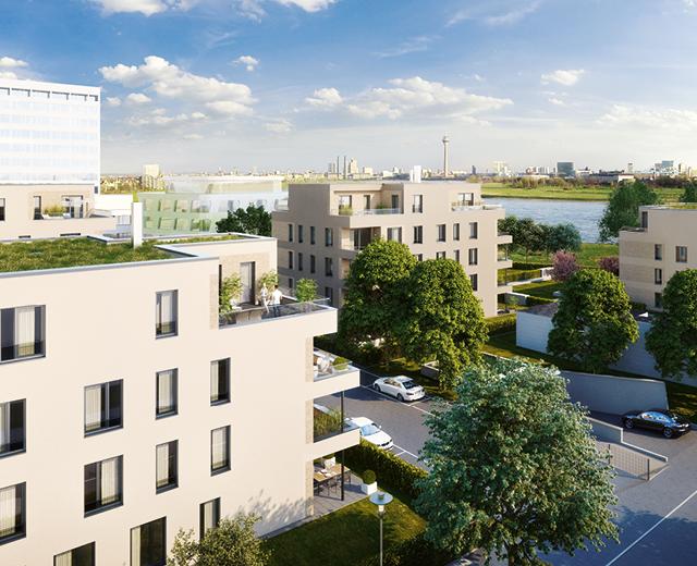 Rendering Außenansicht zur Vermarktung des Wohnquartiers Rhein Sieben