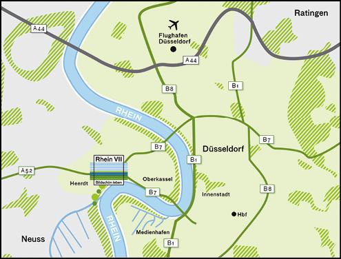 Corporate Design einer Karte zur Vermarktung des Wohnquartier Rhein Sieben