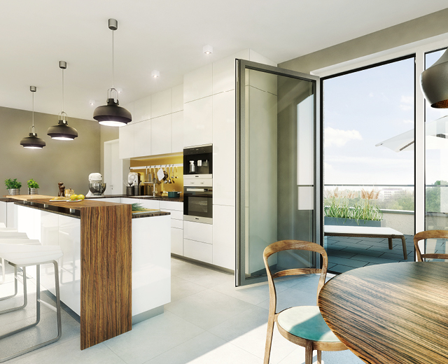 Rendering eines Wohnbeispiels für Immobilienmarketing