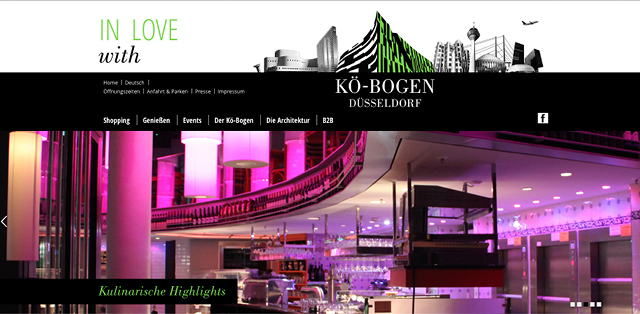 Website der Gewerbeimmobilie und Marke Koe-Bogen