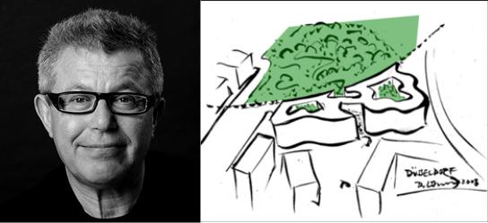 Stararchitekt Daniel Libeskind mit gezeichnetem Entwurf des Koe-Bogen zur Vermarktung