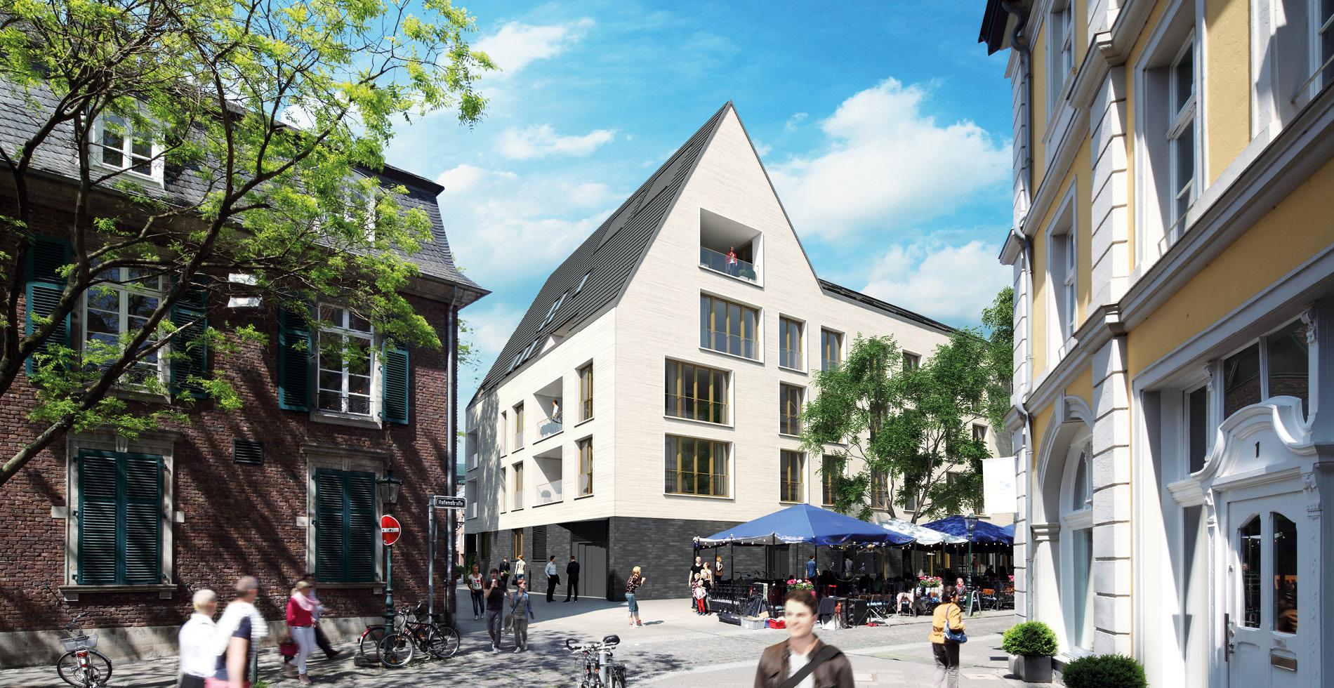 3D-Visualisierung Aussenansicht für das Vermarktungskonzept der Wohnimmobilie Carlstadtufer in Düsseldorf