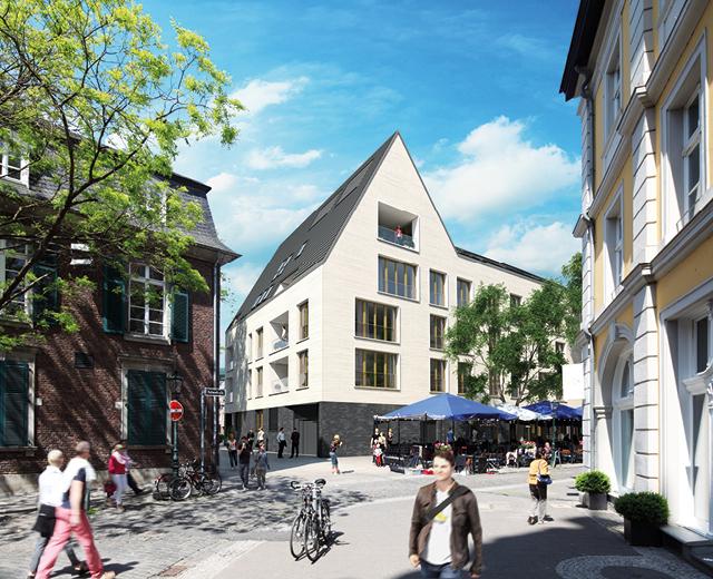 3D-Visualisierung Außenansicht für das Vermarktungskonzept der Wohnimmobilie Carlstadtufer in Düsseldorf