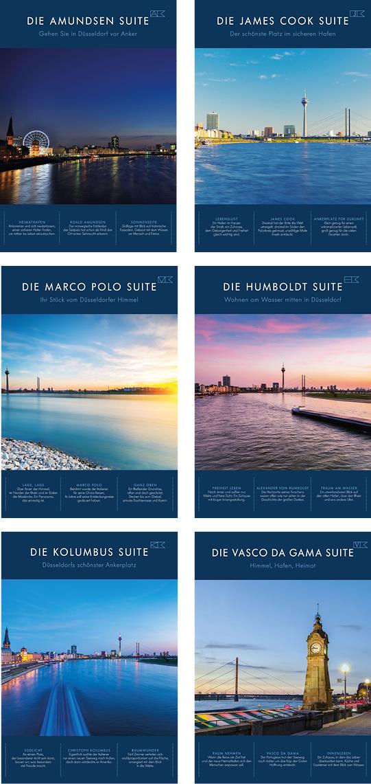 Titelabbildung der sechs Vermarktungsexposes der Wohnimmobilie Carlstadtufer in Düsseldorf