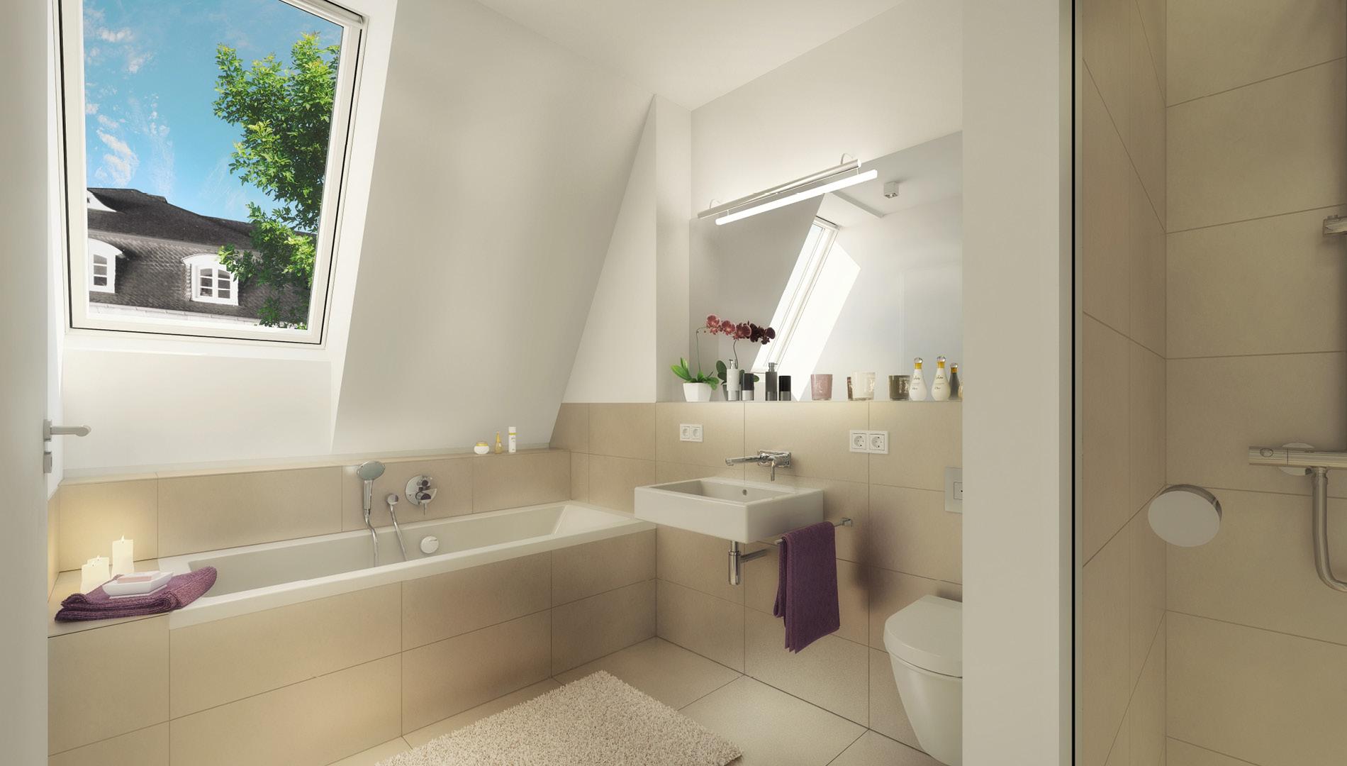 Rendering Badezimmer für das Vermarktungskonzept der Wohnimmobilie Carlstadtufer in Düsseldorf