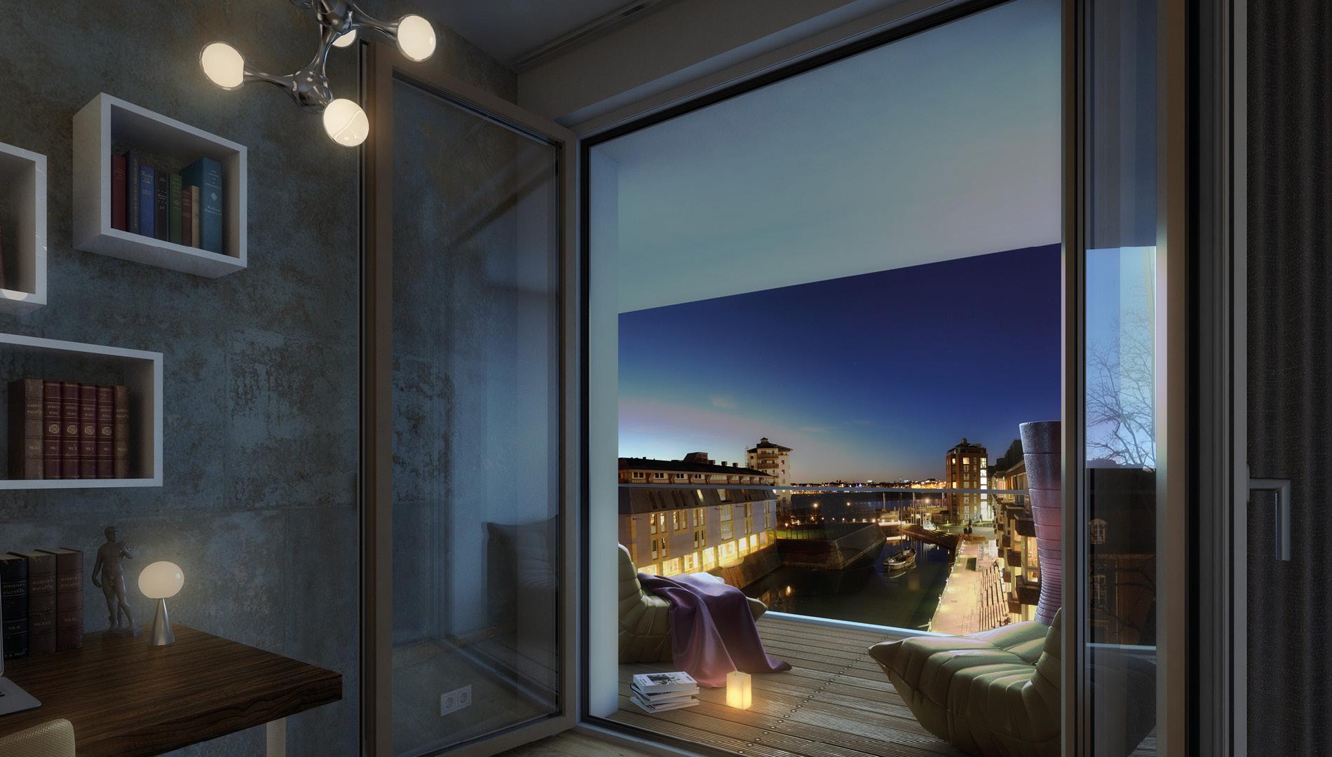 Ausblick Rendering für das Vermarktungskonzept der Wohnimmobilie Carlstadtufer in Düsseldorf