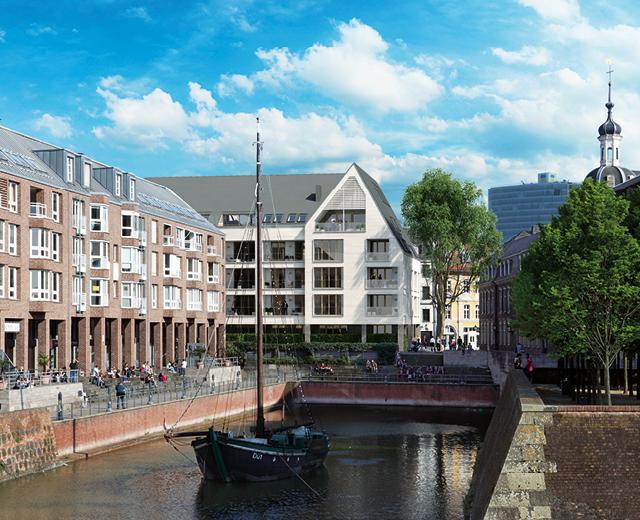 Düsseldorfer Hafenbecken für das Vermarktungskonzept der Wohnimmobilie Carlstadtufer in Düsseldorf