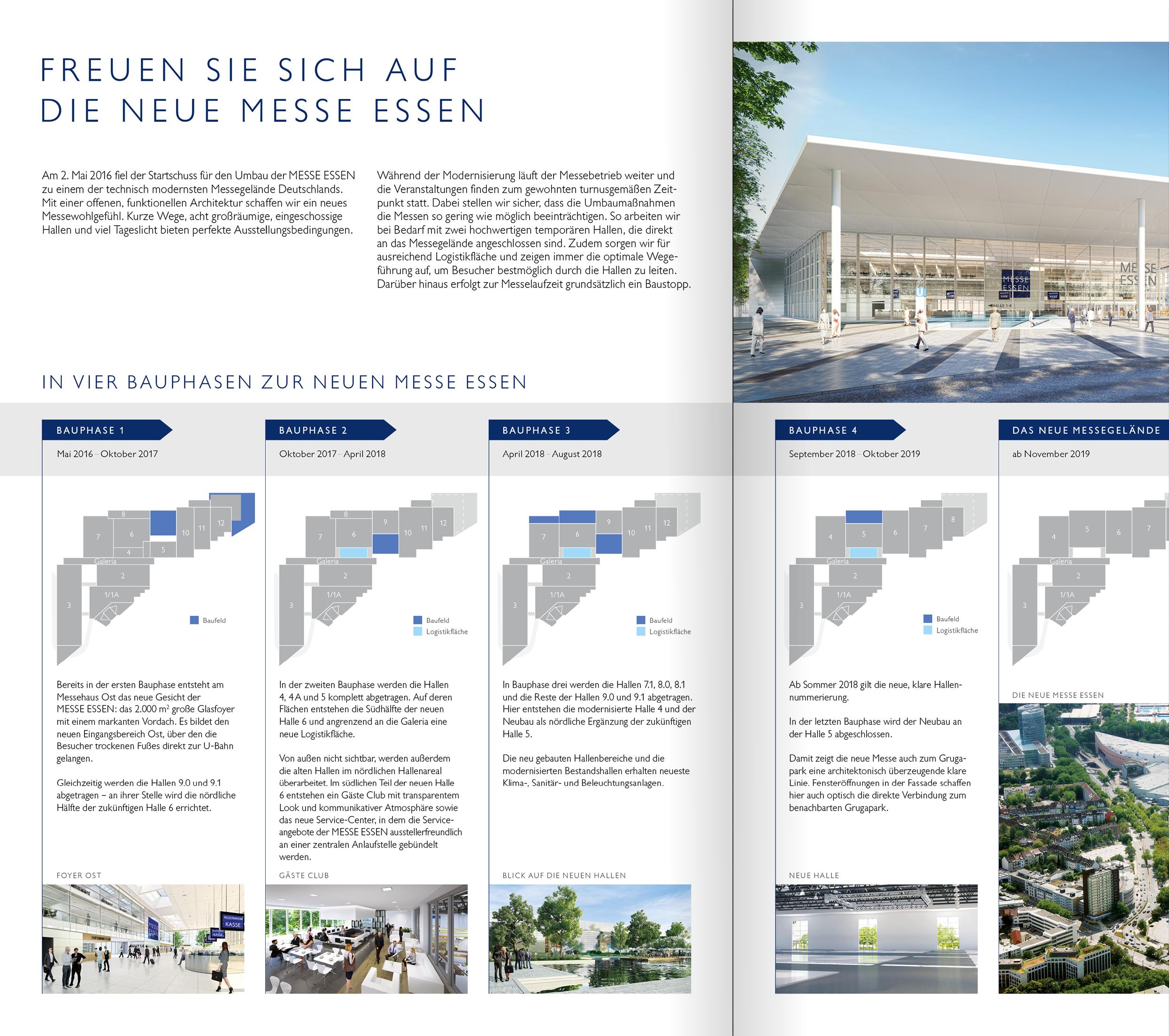 Geländebroschüre für die Kommunikationskampagne des Modernisierungsprojektes der Messe Essen