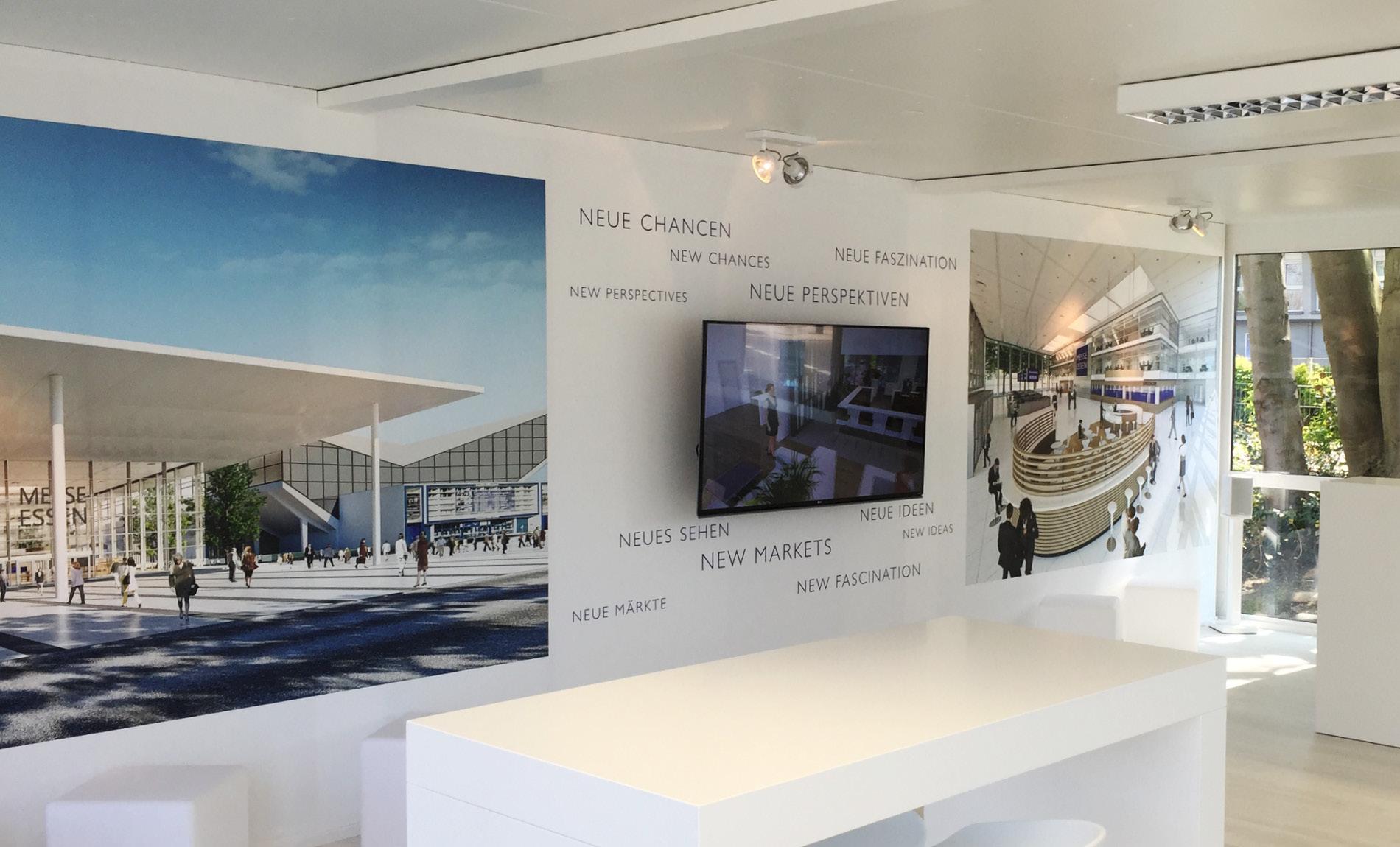 Baucontainer für die Kommunikationskampagne des Modernisierungsprojektes der Messe Essen