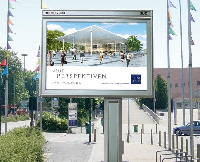Messeplatz für die Kommunikationskampagne des Modernisierungsprojektes der Messe Essen