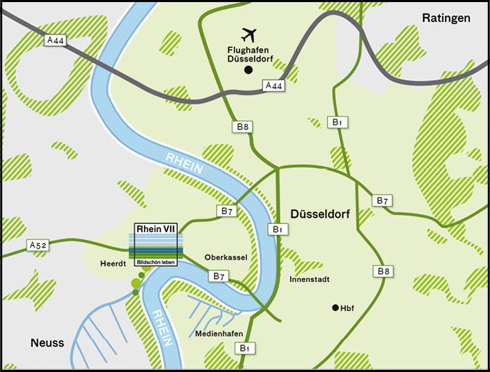 Branding Karte für das Standortmarketingkonzept für das Wohnquartier Rhein VII in Düsseldorf