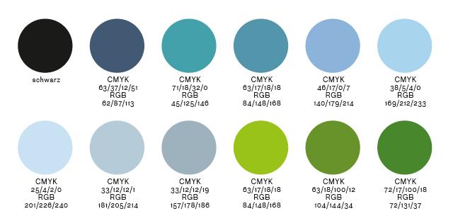 Corporate Design Farben für das Standortmarketingkonzept für das Wohnquartier Rhein VII in Düsseldorf