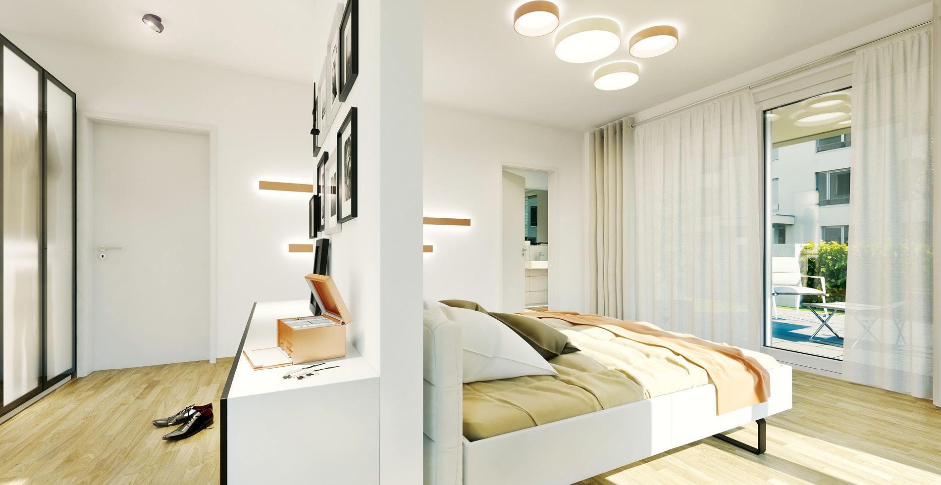 Rendering Schlafbereich für das Standortmarketingkonzept für das Wohnquartier Rhein VII in Düsseldorf