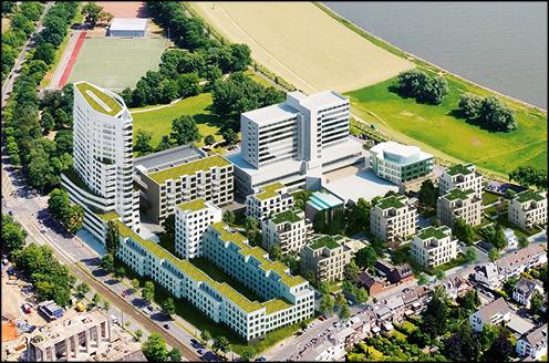 Luftbild 3D-Visualisierung für das Standortmarketingkonzept für das Wohnquartier Rhein VII in Düsseldorf