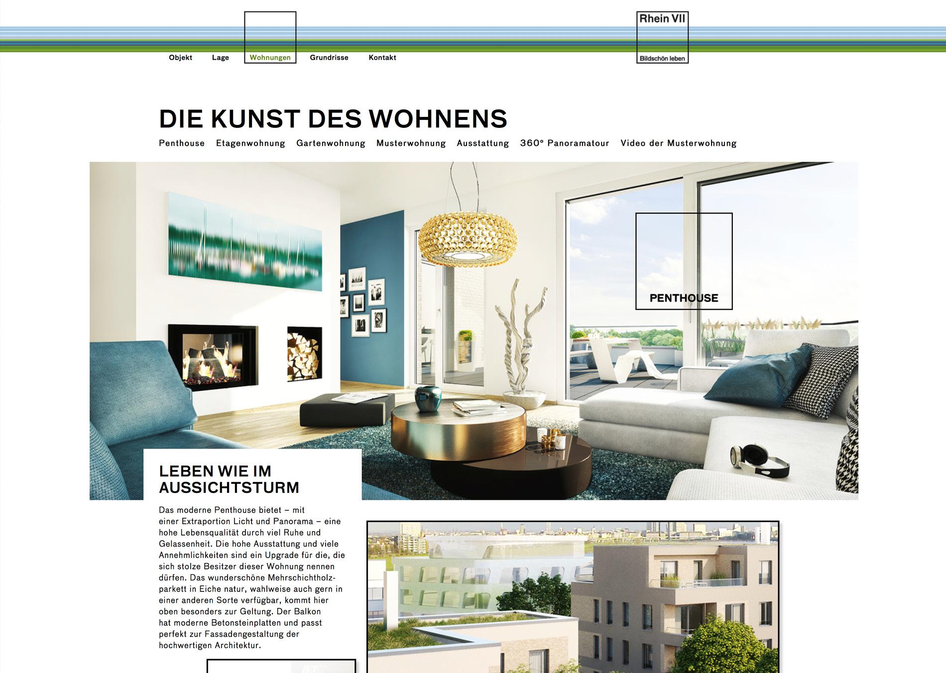 Website für das Standortmarketingkonzept für das Wohnquartier Rhein VII in Düsseldorf