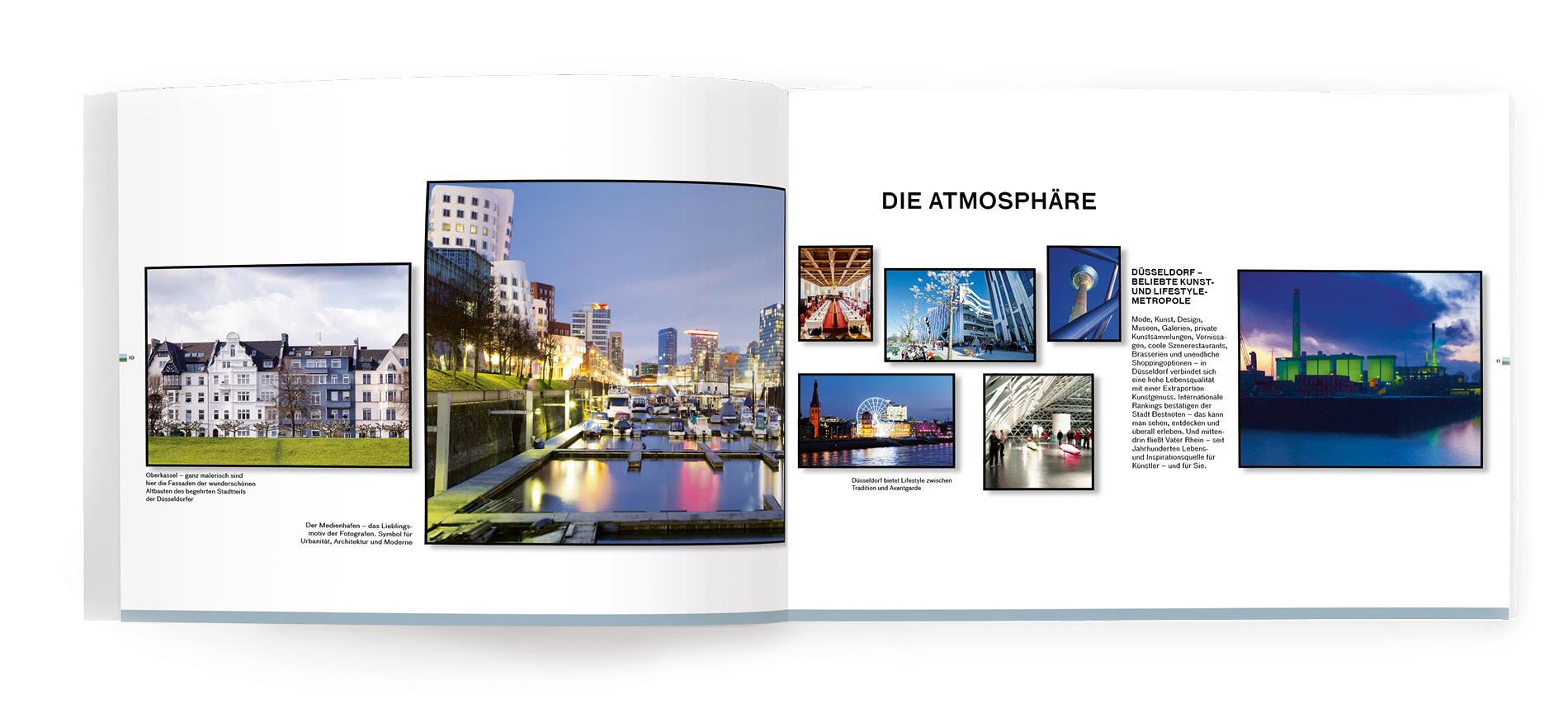 Innenseiten Vermarktungsexposé für das Standortmarketingkonzept für das Wohnquartier Rhein VII in Düsseldorf