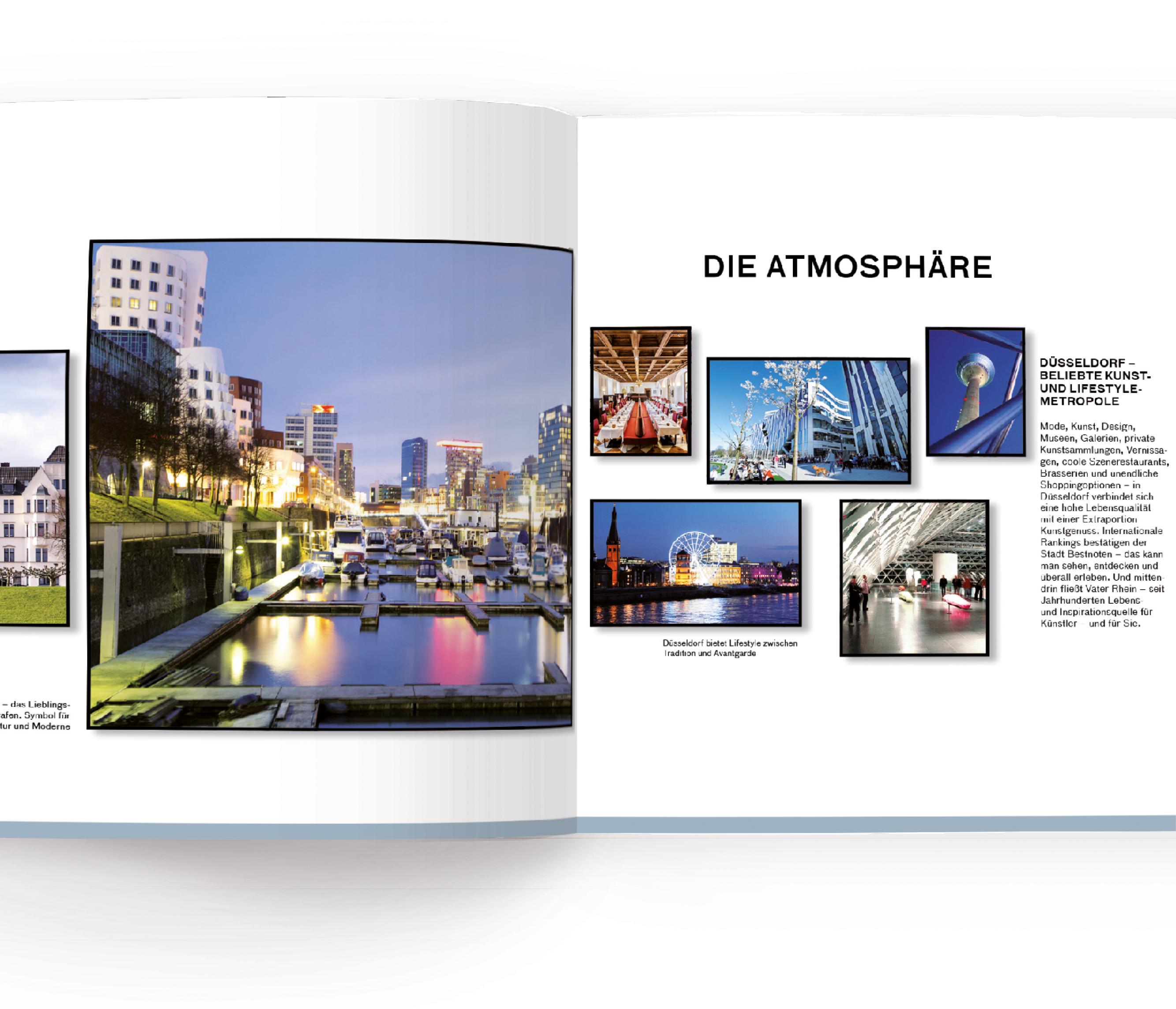 Innenseiten des Vermarktungsexposés für das Standortmarketingkonzept für das Wohnquartier Rhein VII in Düsseldorf