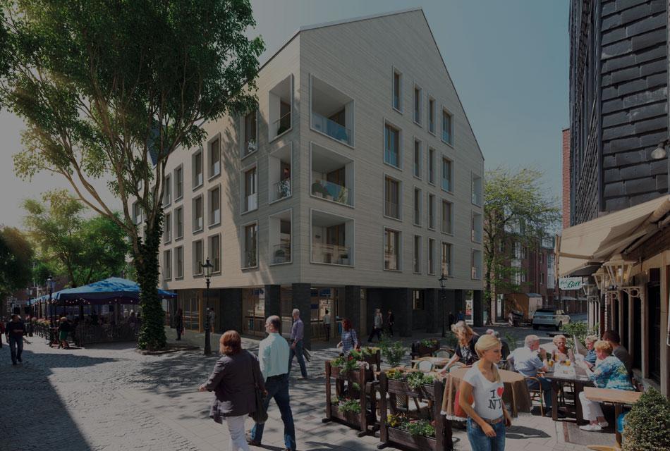 Rendering Aussenansicht für das Vermarktungskonzept der Wohnimmobilie Carlstadtufer in Düsseldorf