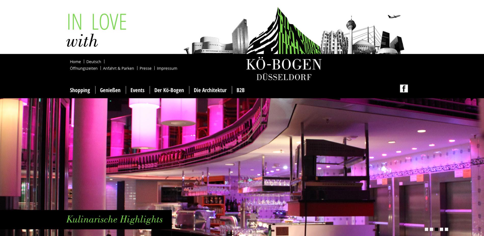 Website zur Vermarktung der Gewerbeimmobilie und Marke Koe-Bogen