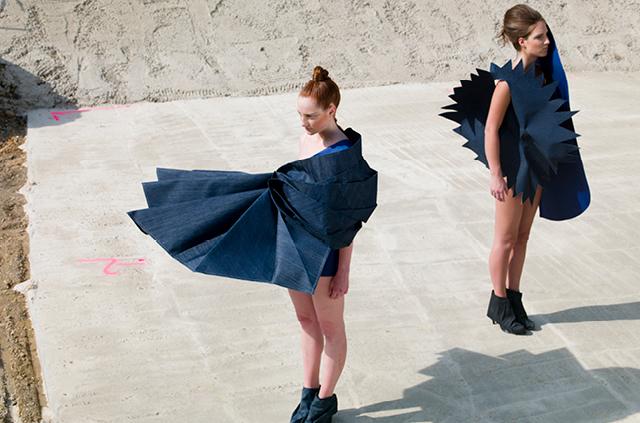 Fashionshooting auf der Baustelle zur Vermarktung der Marke und Gewerbeimmobilie Koe-Bogen