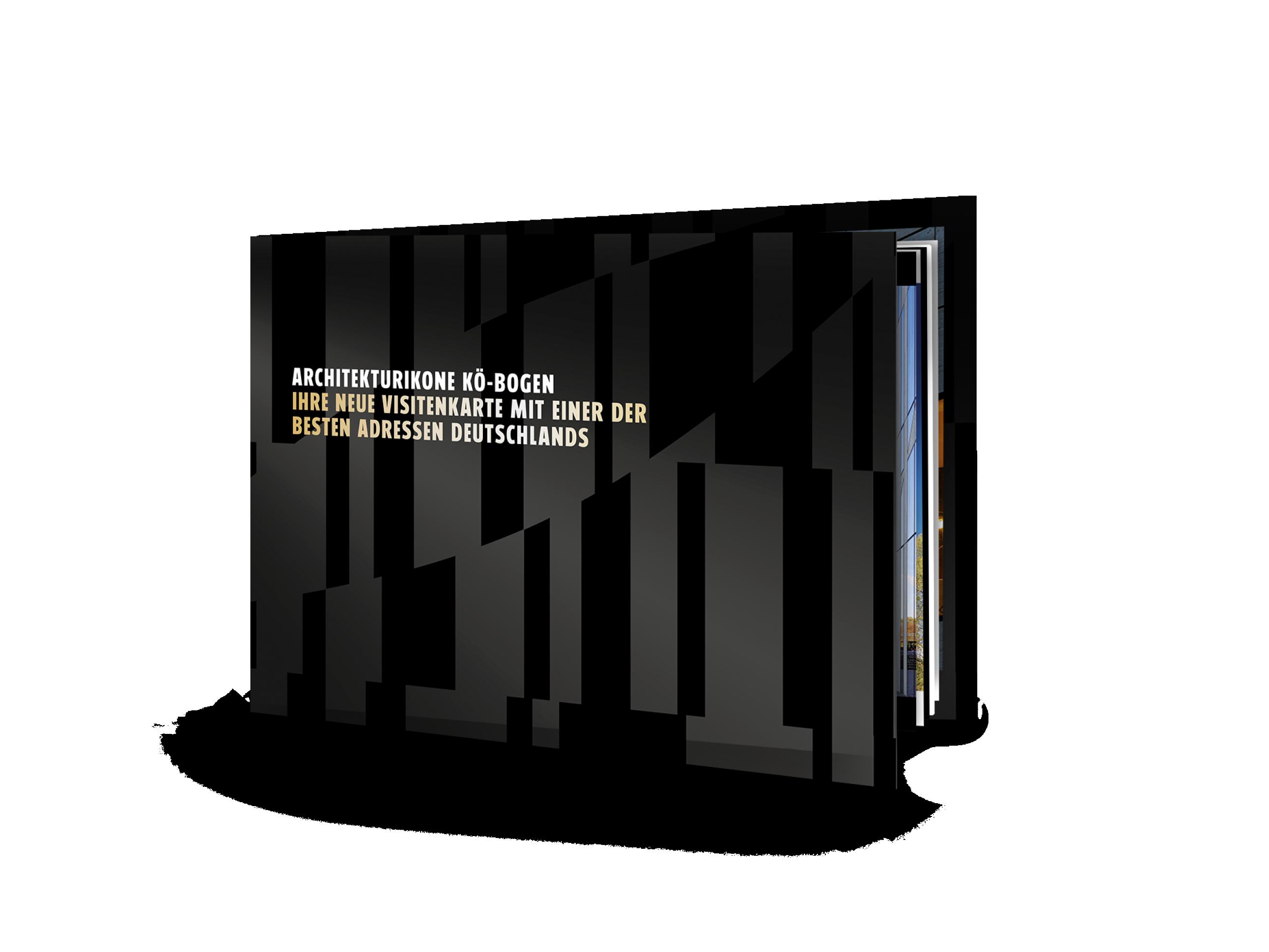 Titel des Vermarktungsexposes für die Gewerbeimmobilie und Marke Koe-Bogen