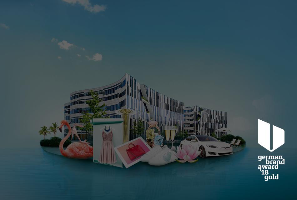 Motiv Vermarktung der Marke und Gewerbeimmobilie Koe-Bogen
