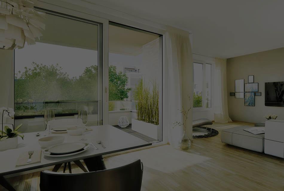 3D-Visualisierung Wohnbereich für das Standortmarketingkonzept für das Wohnquartier Rhein VII in Düsseldorf